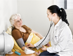 Nurse checking the condition of an elderly person